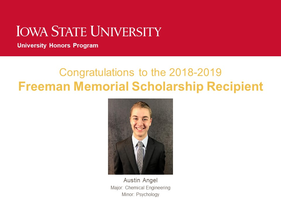2019 Freeman Memorial Scholarship Winner